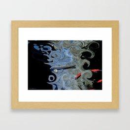Cat & Koi Blue Framed Art Print