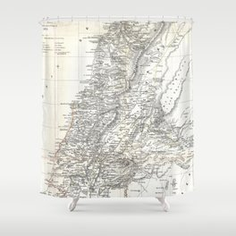 Vintage Map of Lebanon (1856) Shower Curtain