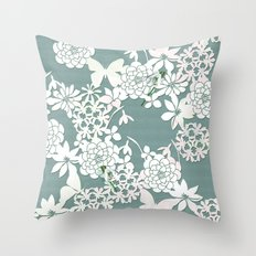 Papercut snowdrops Throw Pillow