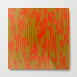 Geometric Orange Green Painting Metal Print