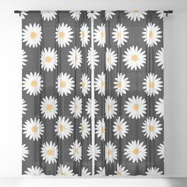 Daisy black pattern Sheer Curtain