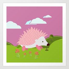 Hedgehog , Purple , flowers , nursery decor Art Print