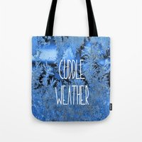 cuddle Tote Bags featuring Cuddle Weather by ALLY COXON