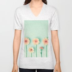 composition of gerbers/daisies over mint Unisex V-Neck