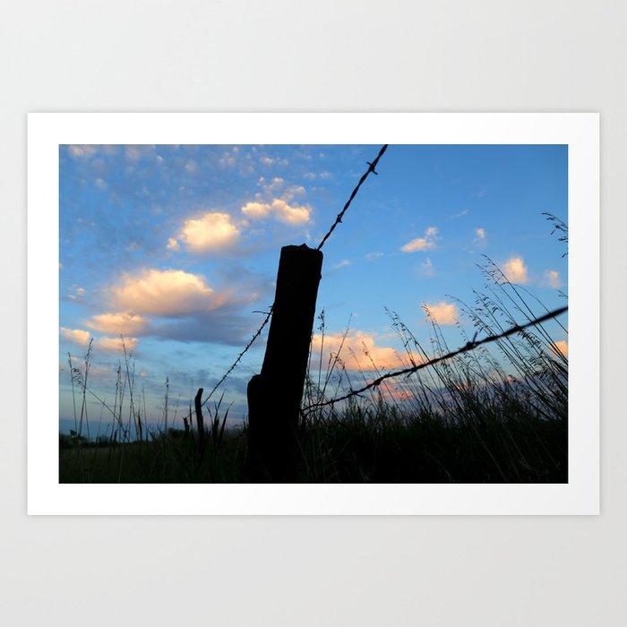 Fencepost Silhouette Art Print by run_quiltgirl_run | Society6