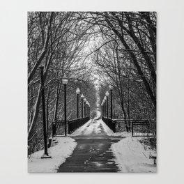 Winter walking bridge Canvas Print