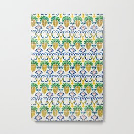 Pineapple Tiles Metal Print