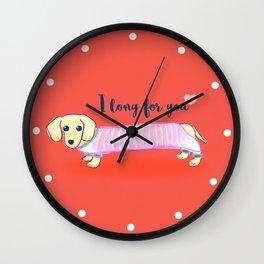 Valentine's Day dachshund dog Wall Clock