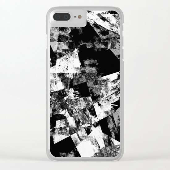Fractured Black And White - Abstract, textured, black and white artwork Clear iPhone Case
