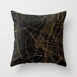 Black and gold Bangkok map Throw Pillow
