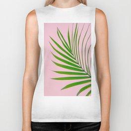 Simple palm leaves in pink Biker Tank