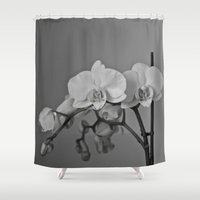 orchid Shower Curtains featuring Orchid by Maria Lugilde