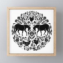 Modern Folk Art Horses Illustration with Chickens and Botanicals Framed Mini Art Print