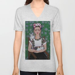 Frida cat lover Unisex V-Neck