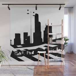City Scape in Black and White Wall Mural
