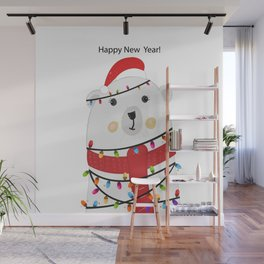 Polar bear with colorful light bulb. Happy new year greeting card Wall Mural
