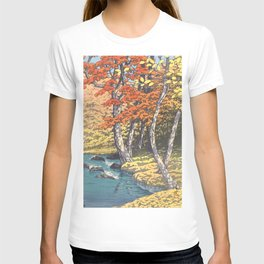 Japanese Woodblock -  Autumn in Oirase by Kawase Hasui, 1933 T-shirt