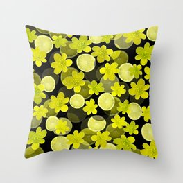 Lime and flowers on black Throw Pillow