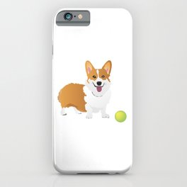 Corgi Dog with a Green Ball iPhone Case
