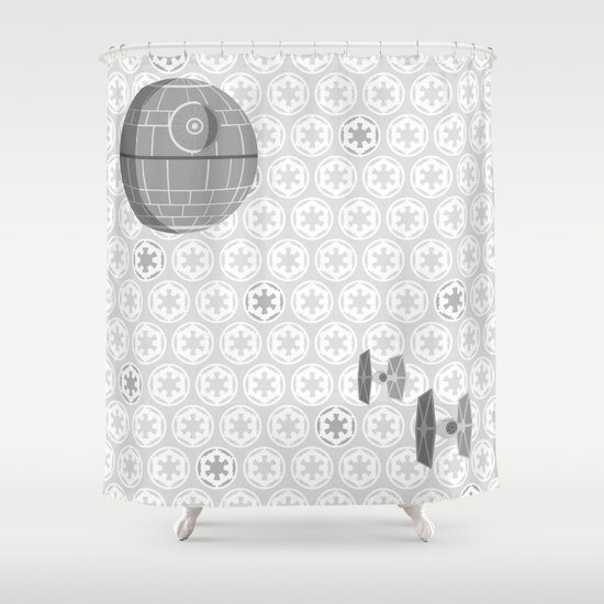Star Wars Death Star Tie Fighters And Imperial Crest In Gray Shower Curtain By Foreverwars