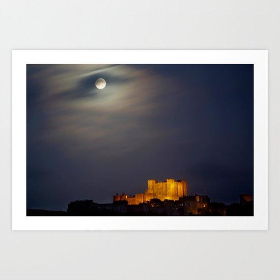 Full Moon over Dover Castle Art Print