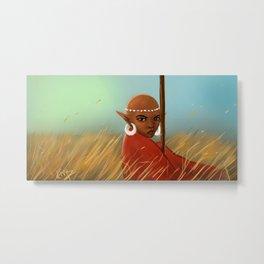 African Elf in Tall Grass Metal Print