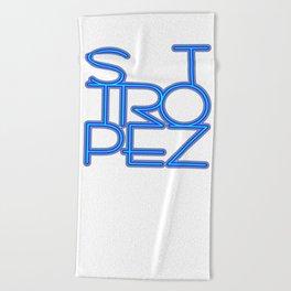 St. Tropez in blue neon Beach Towel