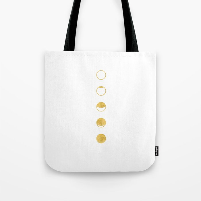 Moon Phase, Lunar Cycle, White and Gold, New Moon, Geometric Circles, Modern, Simple, Luxe Tote Bag