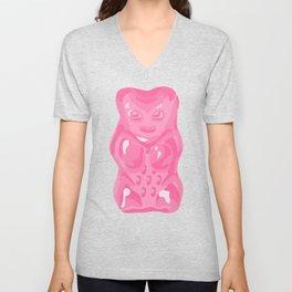 Pink Gummi Bear on Mint Background Unisex V-Neck