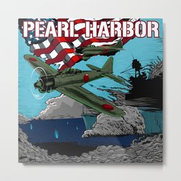 Attack on Pearl Harbor illustration. Metal Print