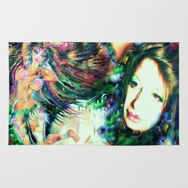 NUDE BELLY DANCER WITH LADY KASHMIR ART PRINT PHOTOGRAPHY PAINTING  Rug