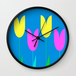 Tulips In Spring Time - Yellow & Bright Pink - Tulips in Springtime series Wall Clock