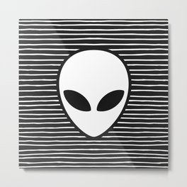 Alien on Black and White stripes Metal Print