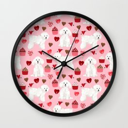 Bichon Frise valentines day dog gifts pet art portraits of your furry friend dog breeds Wall Clock