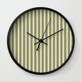 Large French Cream Mattress Ticking Black Double Stripes Wall Clock