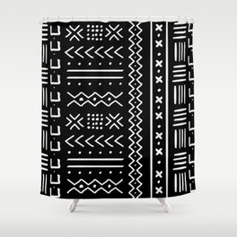 Black hand drawn mudcloth Shower Curtain