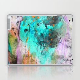 Hand painted teal orange black watercolor Laptop & iPad Skin