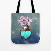 the last unicorn Tote Bags featuring Last Unicorn by Astrablink7
