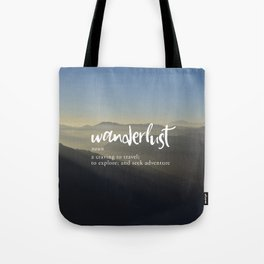 Wanderlust Definition - Misty Mountains Tote Bag