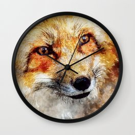 Fox animal nature wild forest-  watercolor illustration Wall Clock