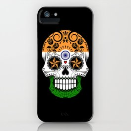 Sugar Skull with Roses and Flag of India iPhone Case