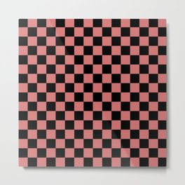 Checkered (pink + black) Metal Print