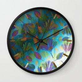 Ginkgo Leaves Under Water Wall Clock