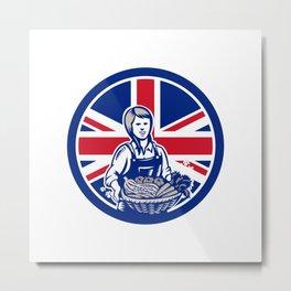 British Female Organic Farmer Union Jack Flag Icon Metal Print