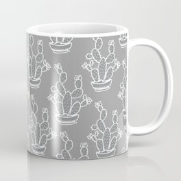 Cacti Gray pattern yellow gray white Coffee Mug