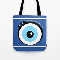 evil eye Tote Bags featuring Evil Eye by Monica Barela-Di Bisceglie