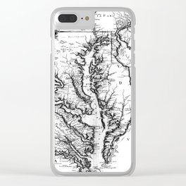 Vintage Map of The Chesapeake Bay (1719) BW Clear iPhone Case