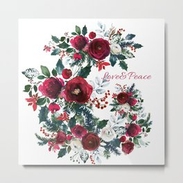 Red burgundy Christmas season floral bouquets love and peace script Metal Print