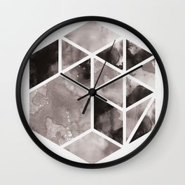 Watercolor Hexagon Abstract Geometric Print Wall Clock