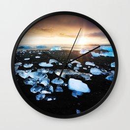 Fire and Ice Black Sand Sunset, Coastal Landscape Photograph Wall Clock